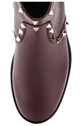 Женские кожаные ботинки valentino garavani rockstud VALENTINO бордового цвета, арт. SW0S0I57/XHQ | Фото 5