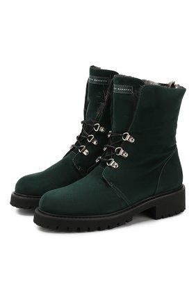 Женские замшевые ботинки GIUSEPPE ZANOTTI DESIGN темно-зеленого цвета, арт. I970001/005 | Фото 1