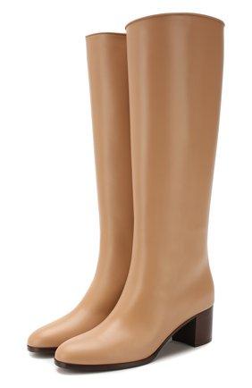 Женские кожаные сапоги paris  LORO PIANA бежевого цвета, арт. FAI7062 | Фото 1