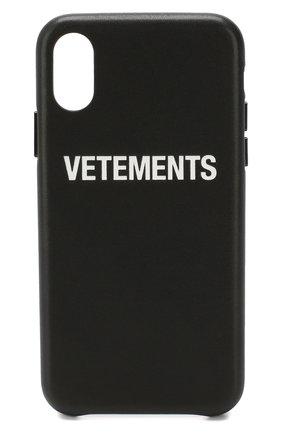 Мужской чехол для iphone x/xs VETEMENTS черного цвета, арт. UAH20AC901/W/IPH0NE XS | Фото 1