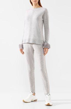 Женский пуловер из смеси шерсти и кашемира MAX&MOI светло-серого цвета, арт. H19BLANC0 | Фото 2