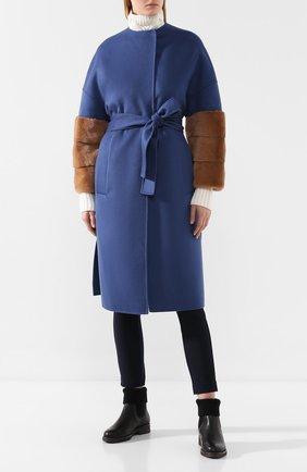 Женское шерстяное пальто AVA ADORE синего цвета, арт. BELFAST/74 AA FW19   Фото 2