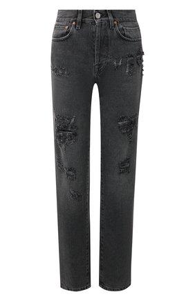 Женские джинсы с потертостями VETEMENTS черного цвета, арт. WAH20PA309 | Фото 1