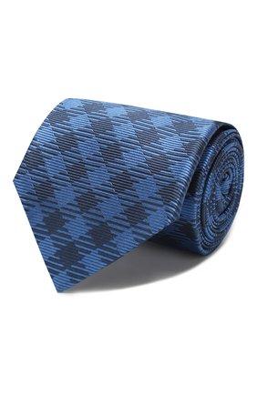 Мужской шелковый галстук LUIGI BORRELLI синего цвета, арт. LC80-B/TT8761 | Фото 1 (Материал: Текстиль; Принт: С принтом)