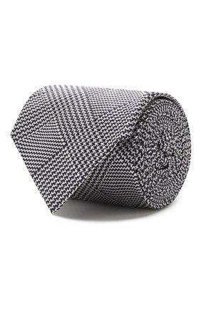 Мужской шелковый галстук LUIGI BORRELLI черно-белого цвета, арт. LC80-B/TT8589 | Фото 1