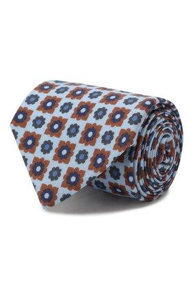 Мужской галстук из смеси шерсти и шелка LUIGI BORRELLI голубого цвета, арт. LC80-B/TT8572 | Фото 1