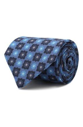 Мужской галстук из смеси шерсти и шелка LUIGI BORRELLI синего цвета, арт. LC80-B/TT8572 | Фото 1 (Материал: Шелк, Текстиль, Шерсть; Статус проверки: Проверена категория; Принт: С принтом)