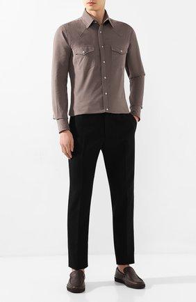 Мужские кожаные лоферы ERMENEGILDO ZEGNA темно-коричневого цвета, арт. A4281X-LHCV0 | Фото 2