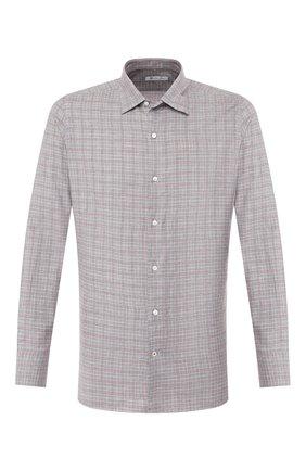 Мужская сорочка из смеси хлопка и шерсти LORO PIANA серого цвета, арт. FAI8631 | Фото 1