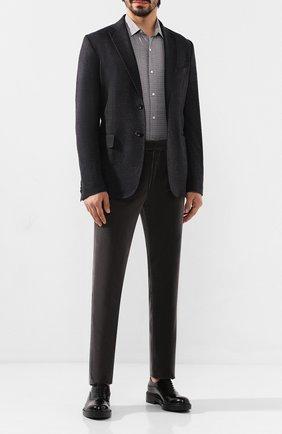 Мужская сорочка из смеси хлопка и шерсти LORO PIANA серого цвета, арт. FAI8631 | Фото 2