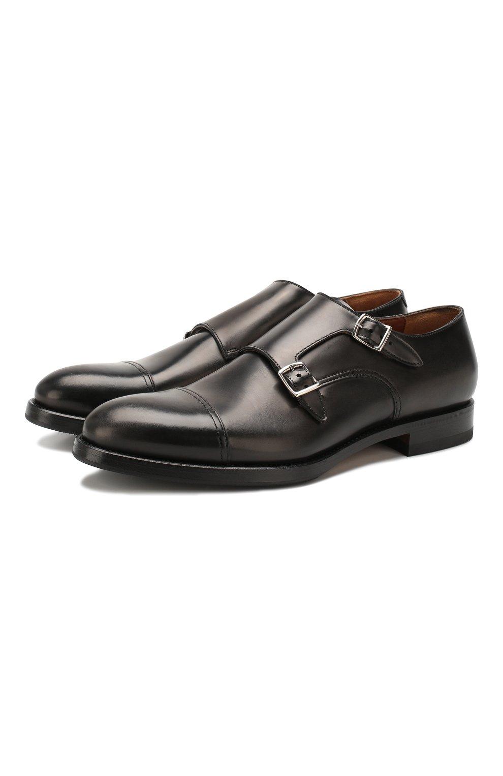 Мужские кожаные монки W.GIBBS черного цвета, арт. 8378001/0221 | Фото 1