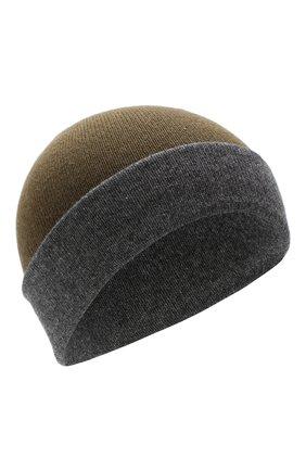 Мужская кашемировая шапка JOHNSTONS OF ELGIN темно-зеленого цвета, арт. HAE01954 | Фото 1