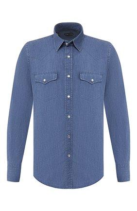 Мужская джинсовая рубашка TOM FORD голубого цвета, арт. 6FT420/94MEKI | Фото 1