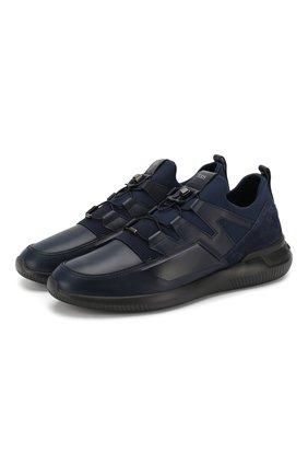 Мужские кожаные кроссовки TOD'S темно-синего цвета, арт. XXM91B0CA40MIA   Фото 1