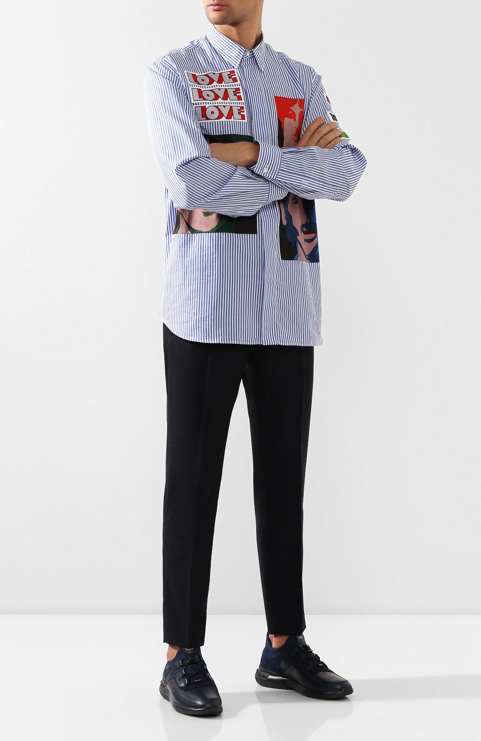 Мужские кожаные кроссовки TOD'S темно-синего цвета, арт. XXM91B0CA40MIA   Фото 2