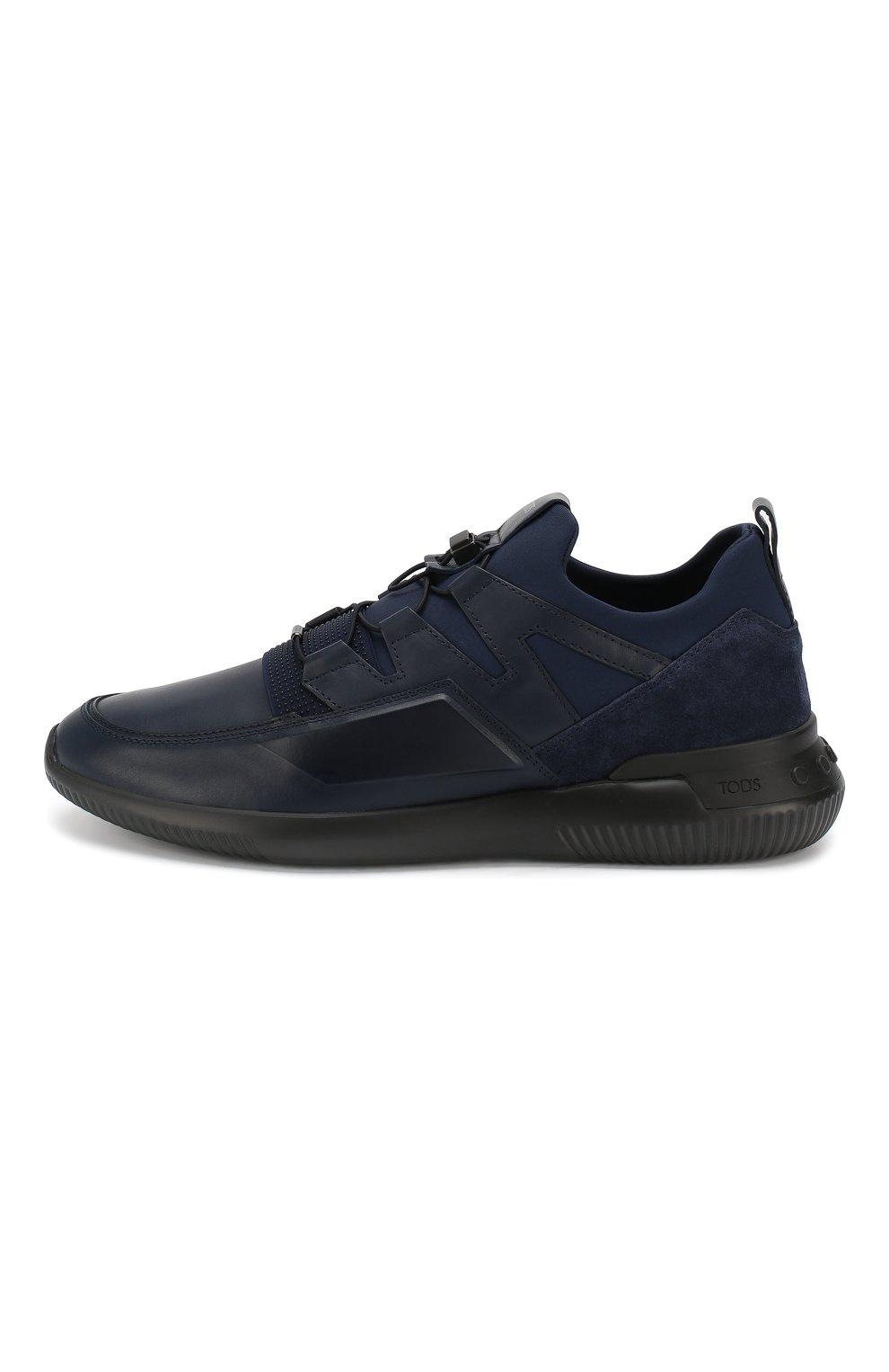 Мужские кожаные кроссовки TOD'S темно-синего цвета, арт. XXM91B0CA40MIA   Фото 3