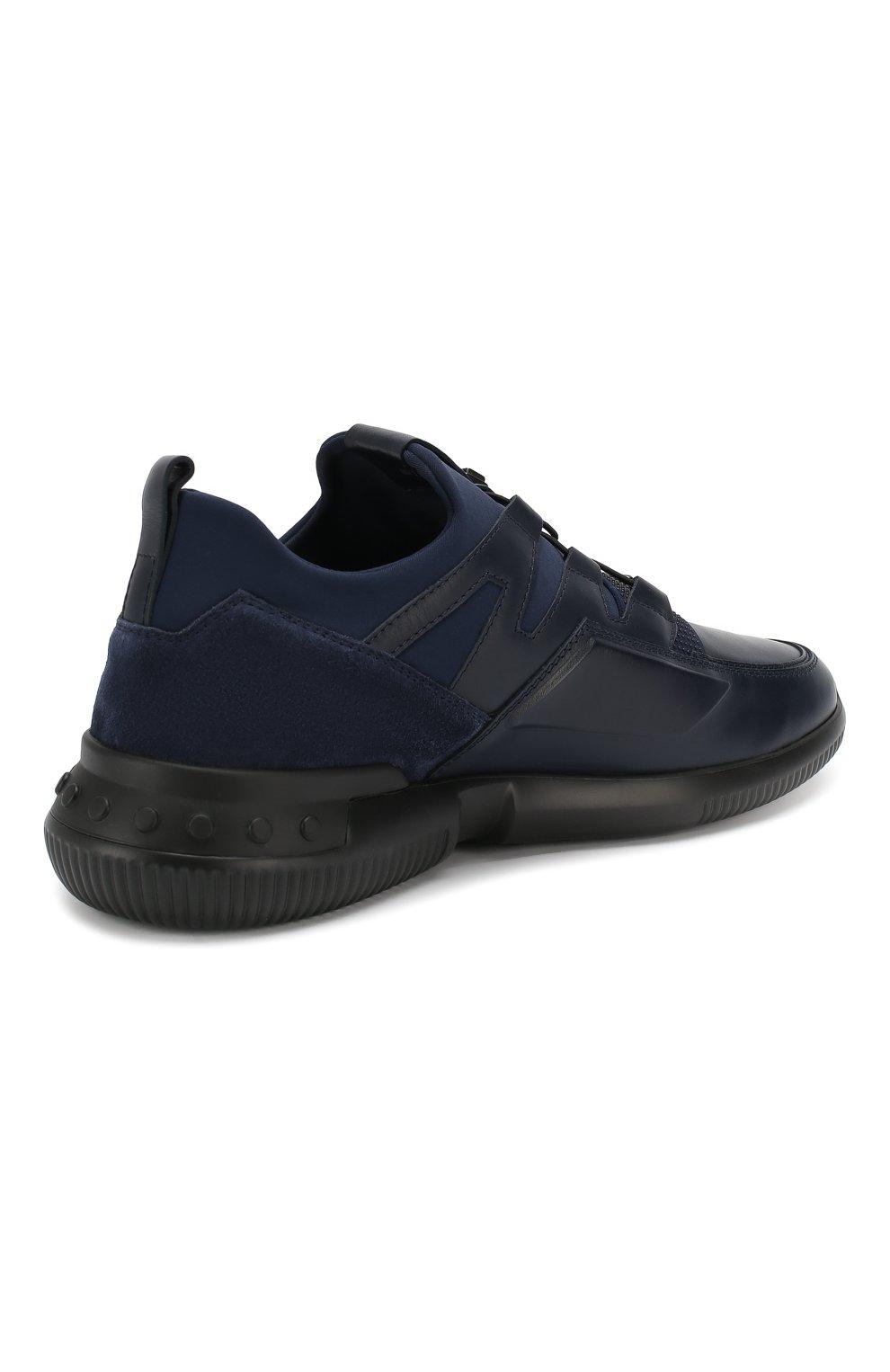 Мужские кожаные кроссовки TOD'S темно-синего цвета, арт. XXM91B0CA40MIA   Фото 4