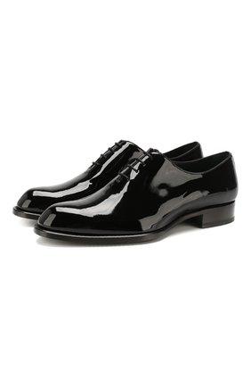 Мужские кожаные оксфорды BRIONI черного цвета, арт. QEF80L/04728 | Фото 1