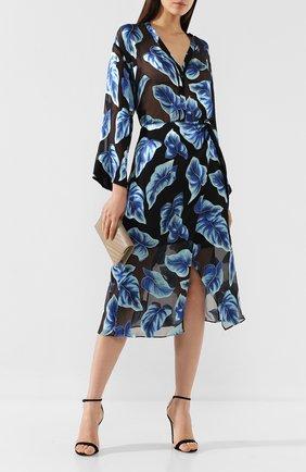 Женская юбка из смеси вискозы и шелка ALICE + OLIVIA синего цвета, арт. CC905B60308   Фото 2