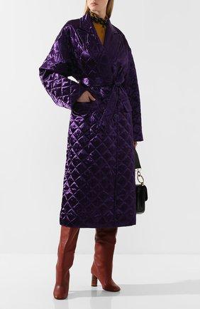 Женское стеганое пальто DRIES VAN NOTEN фиолетового цвета, арт. 192-10254-8536 | Фото 2