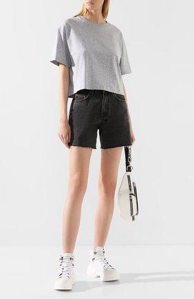 Женская хлопковая футболка ACNE STUDIOS серого цвета, арт. AL0092 | Фото 2
