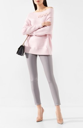 Женские кожаные леггинсы MAX&MOI светло-серого цвета, арт. PERLEGGING | Фото 2