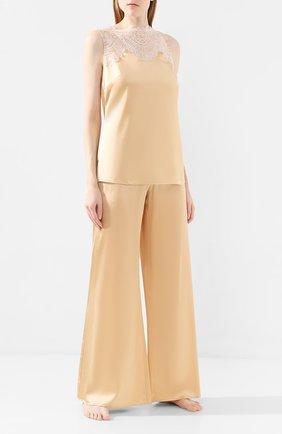 Женские шелковые брюки ERMANNO SCERVINO светло-бежевого цвета, арт. D354P310RBJ | Фото 2