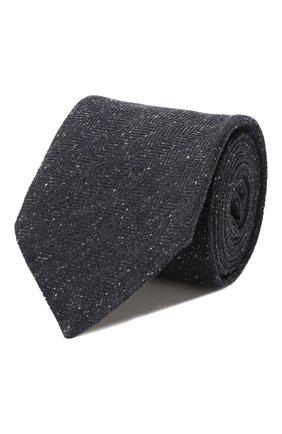 Мужской галстук из смеси шелка и шерсти KITON темно-синего цвета, арт. UCRVKLC09F20 | Фото 1