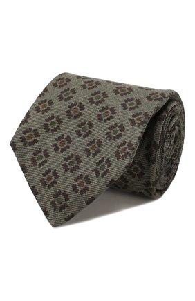 Мужской галстук из смеси шерсти и шелка KITON хаки цвета, арт. UCRVKLC09F34 | Фото 1