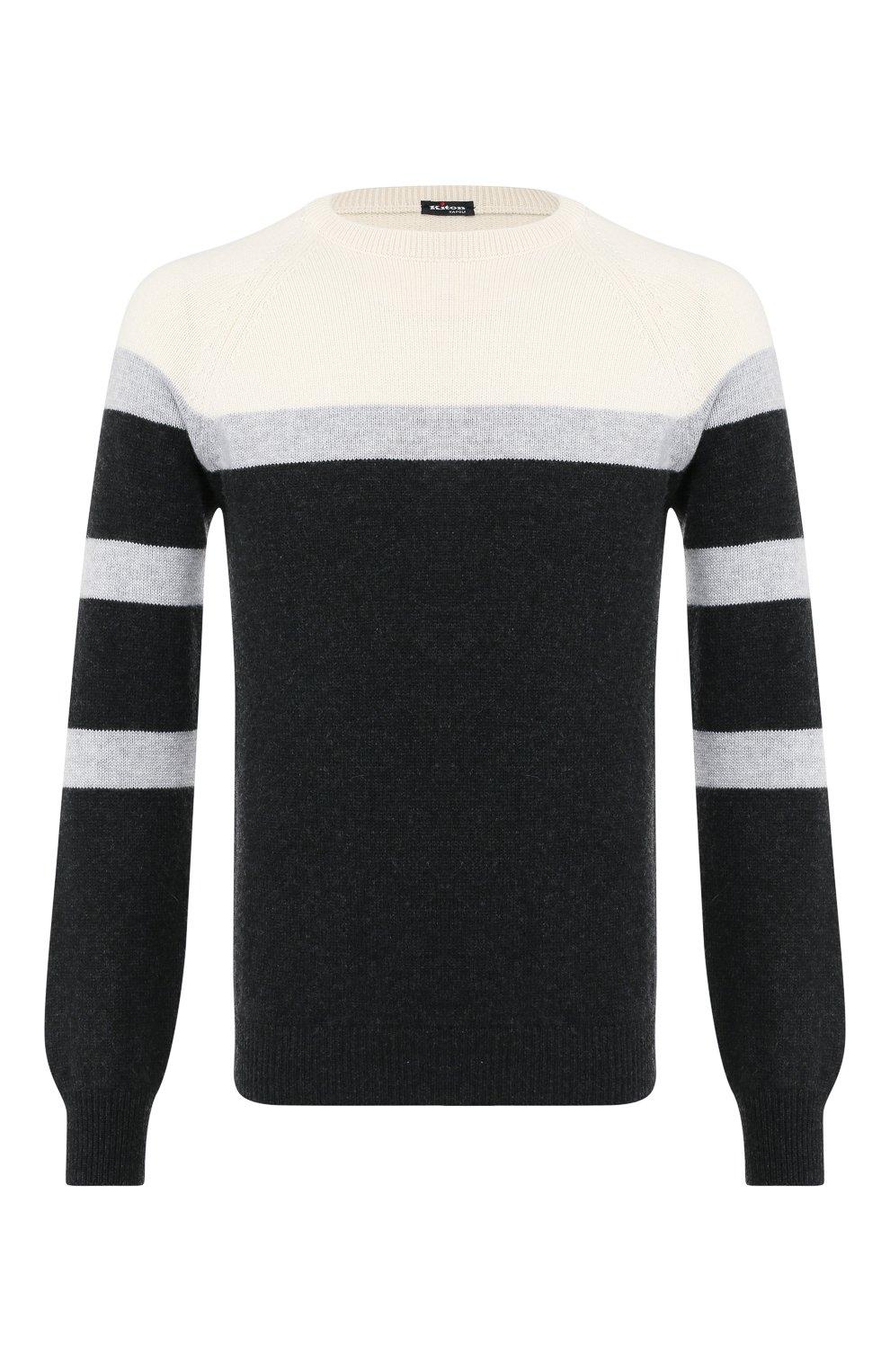 Мужской кашемировый свитер KITON черного цвета, арт. UK977 | Фото 1