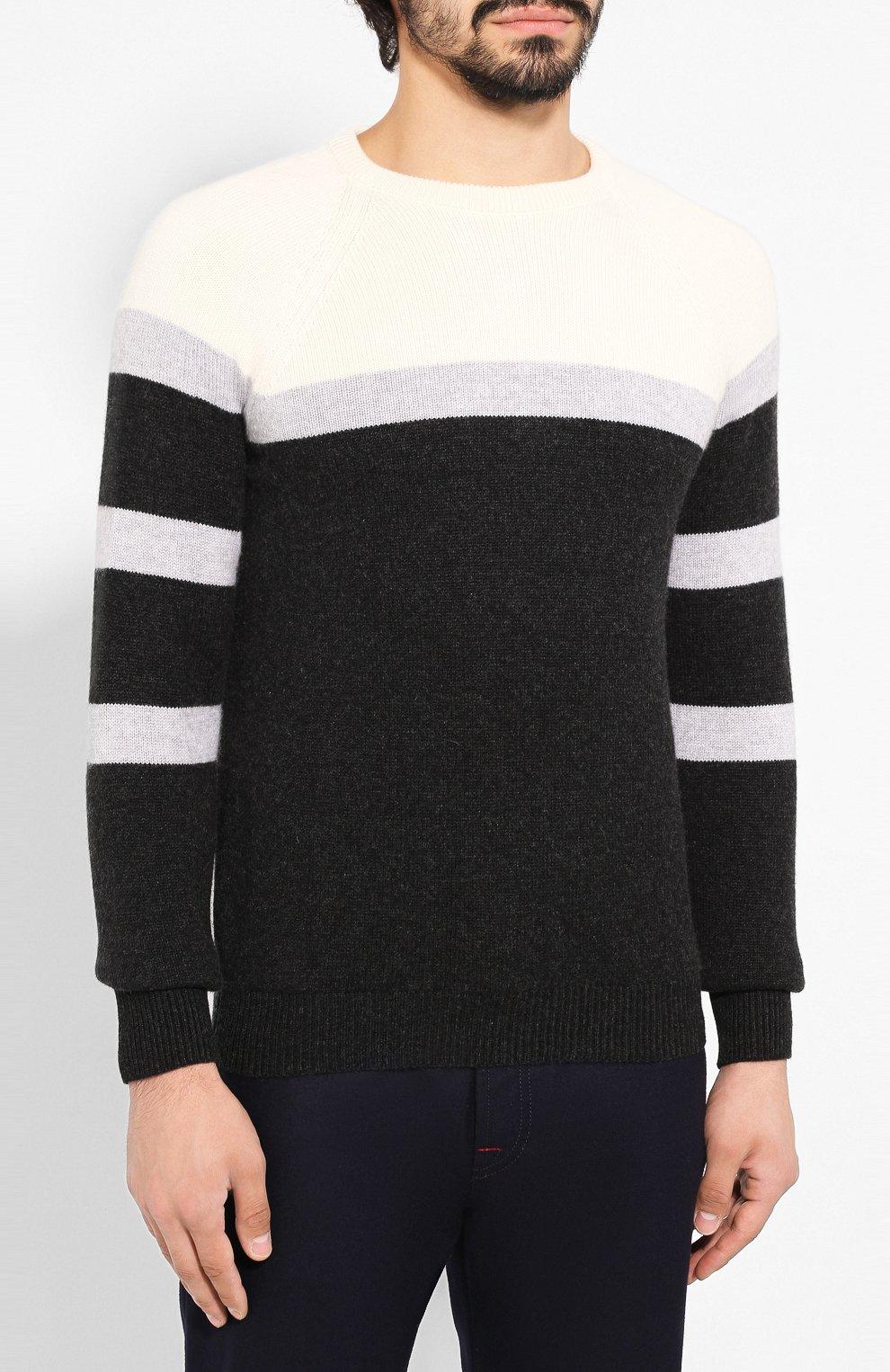 Мужской кашемировый свитер KITON черного цвета, арт. UK977 | Фото 3