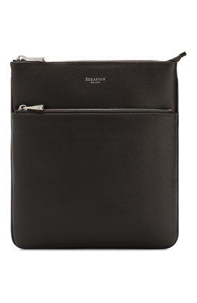 Мужская кожаная сумка-планшет SERAPIAN темно-коричневого цвета, арт. SEV0LMML6794M23D | Фото 1