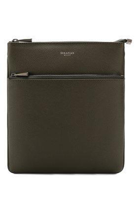 Мужская кожаная сумка-планшет SERAPIAN хаки цвета, арт. SEV0LMML6794M23D | Фото 1