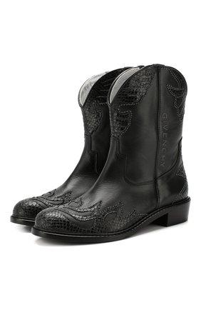 Детские кожаные ботинки GIVENCHY черного цвета, арт. H19022 | Фото 1