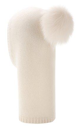 Детского кашемировая шапка-балаклава YVES SALOMON ENFANT белого цвета, арт. 20WEA502XXCARD | Фото 2