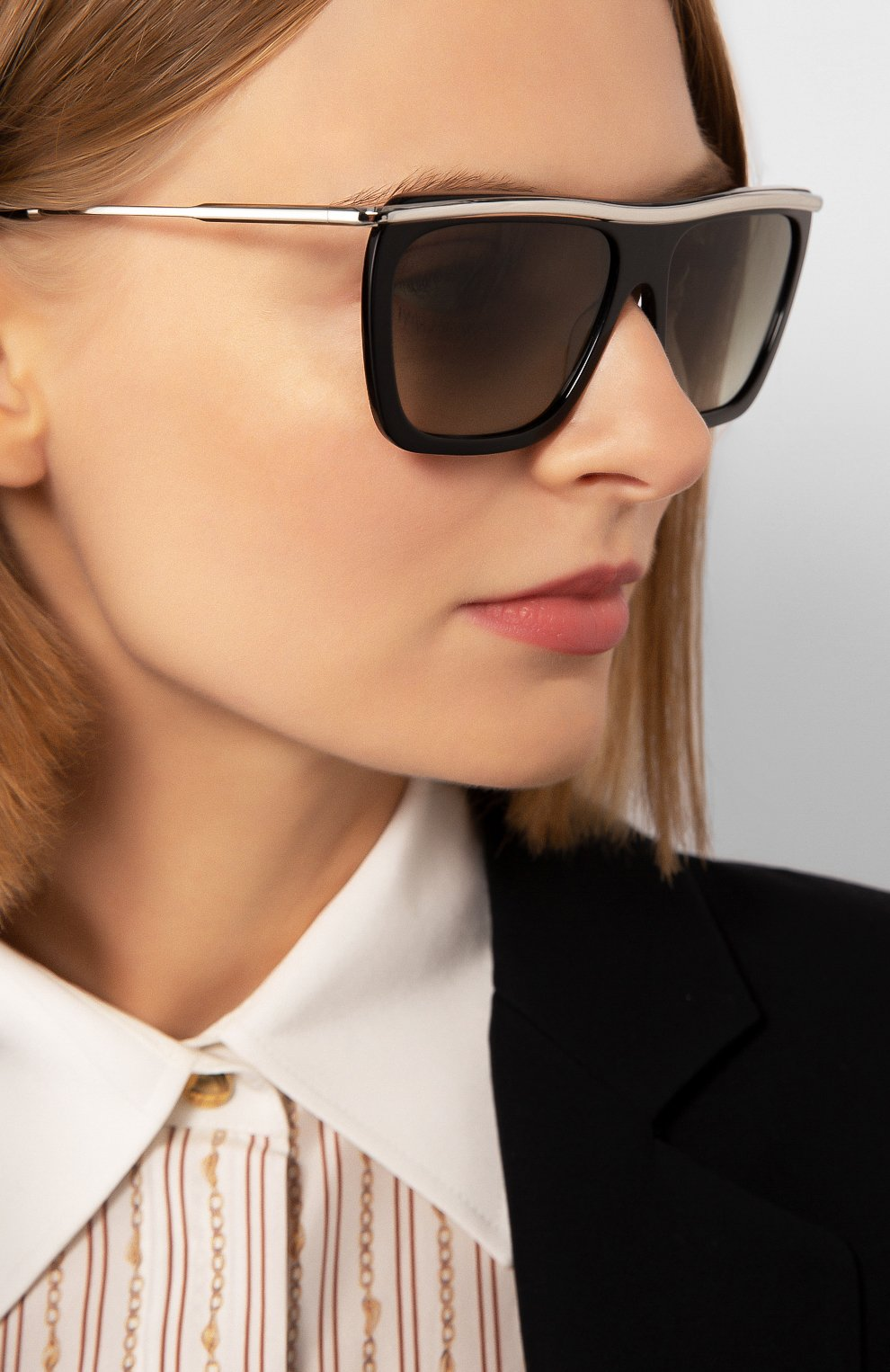 Женские солнцезащитные очки VICTORIA BECKHAM черно-белого цвета, арт. S154 C01 | Фото 2