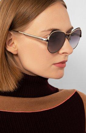 Женские солнцезащитные очки BVLGARI черного цвета, арт. 6120-20338G | Фото 2