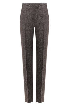 Женские брюки из смеси хлопка и льна TOTÊME серого цвета, арт. TR0IA 193-215-702 | Фото 1