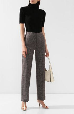 Женские брюки из смеси хлопка и льна TOTÊME серого цвета, арт. TR0IA 193-215-702 | Фото 2