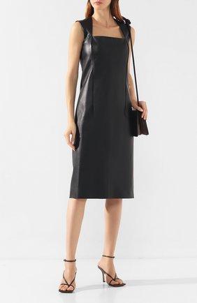 Женское кожаное платье BOTTEGA VENETA черного цвета, арт. 585767/VKHD0 | Фото 2