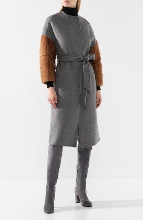 Женское шерстяное пальто AVA ADORE светло-серого цвета, арт. EDITH/01 AA FW19   Фото 2