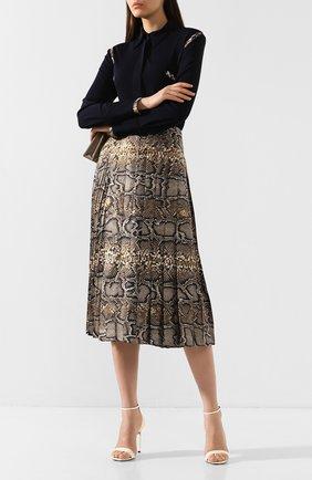 Женская шелковая юбка VICTORIA BECKHAM хаки цвета, арт. SK MID 31021C | Фото 2