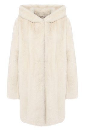 Женская шуба из меха норки YVES SALOMON белого цвета, арт. 20WYM31985VMLX | Фото 1