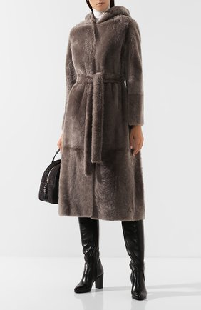 Женская шуба из овчины YVES SALOMON серого цвета, арт. 20WYM60317MERL | Фото 2