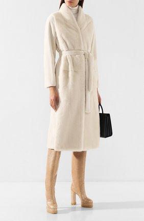 Женская шуба из меха норки с поясом YVES SALOMON белого цвета, арт. 7WYM75720VLVR | Фото 2