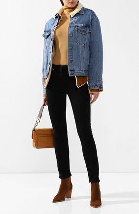 Женская джинсовая куртка с меховой подкладкой FORTE DEI MARMI COUTURE голубого цвета, арт. FFW19-1113 | Фото 2