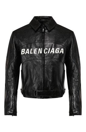 Мужская кожаная куртка BALENCIAGA черного цвета, арт. 594594/TGS08 | Фото 1