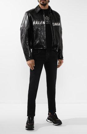 Мужская кожаная куртка BALENCIAGA черного цвета, арт. 594594/TGS08 | Фото 2