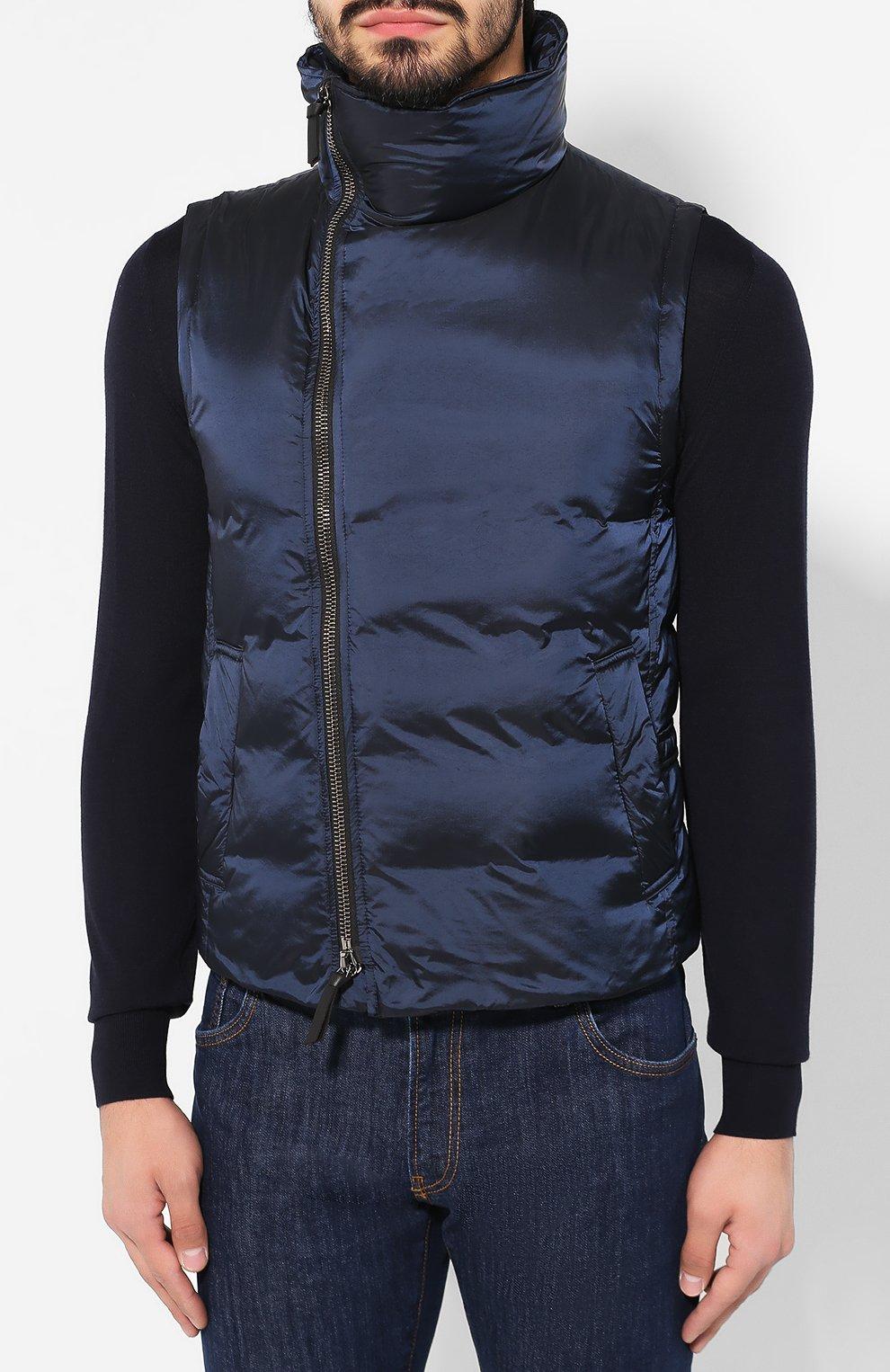 Мужской пуховый жилет GIORGIO ARMANI темно-синего цвета, арт. 9WGGK014/T0189 | Фото 3