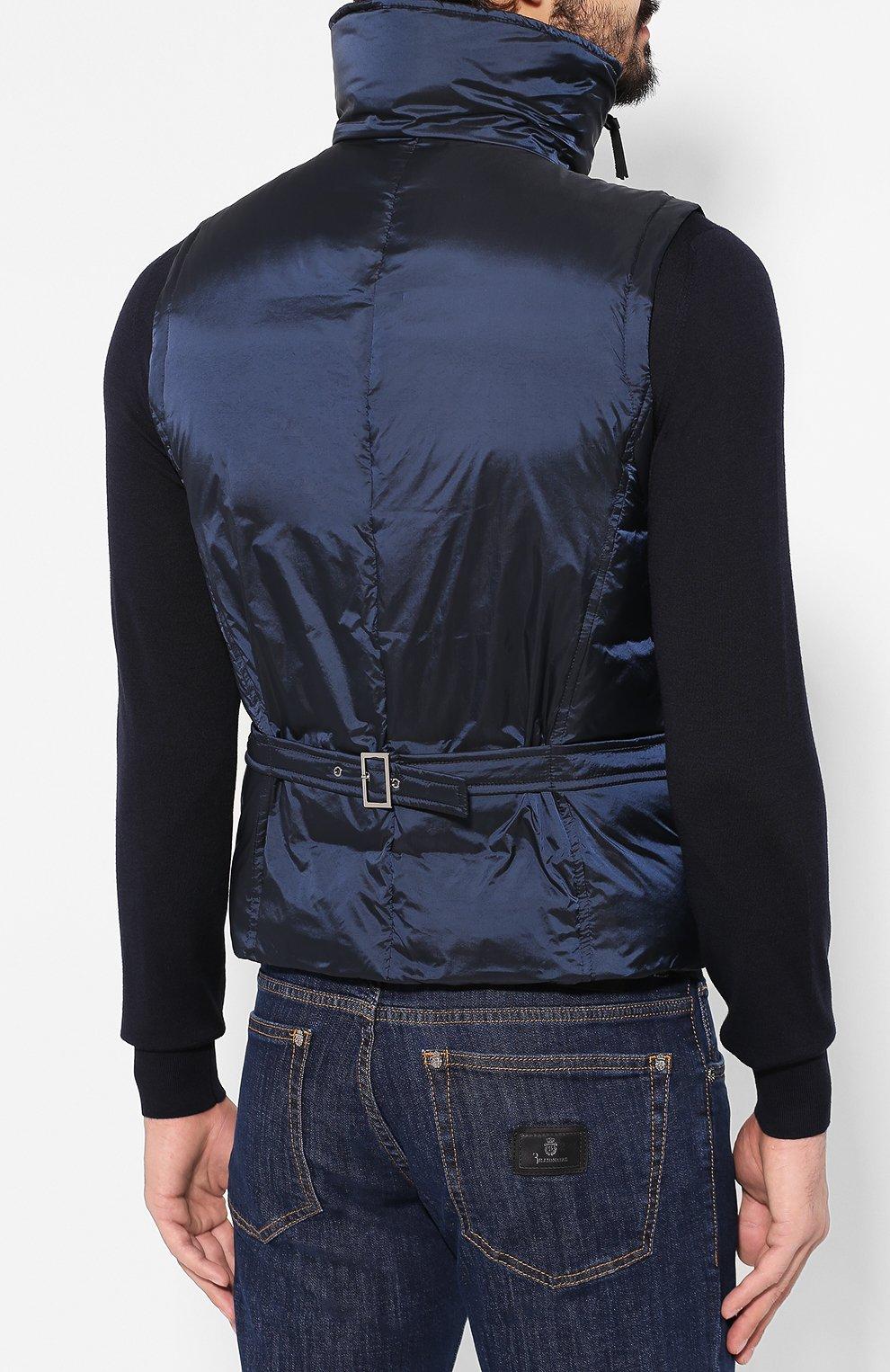 Мужской пуховый жилет GIORGIO ARMANI темно-синего цвета, арт. 9WGGK014/T0189 | Фото 4